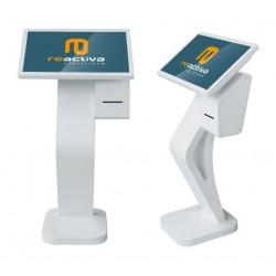 Atril para gestión de turnos con pantalla de 24 pulgadas y impresora de tickets