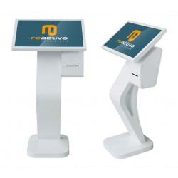 Faristol per a gestió de torns amb pantalla de 24 polzades i impressora de tiquets