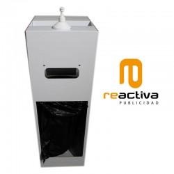Dispensador de gel desinfectant i tovalloles de paper en bobina fabricat en color blanc
