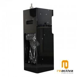 Dispensador de gel desinfectante y toallas de papel en bobina fabricado en color negro