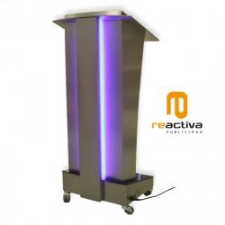 Faristol model Celeste, d'acer inoxidable i il·luminació LED