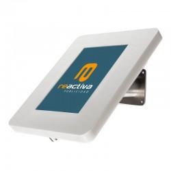 suport per tablet de sobretaula i paret en color blanc i acer inoxidable